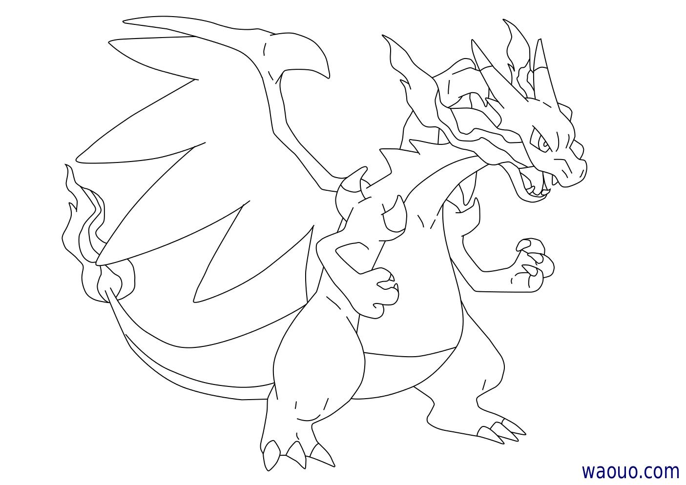 Coloriage Mega Dracaufeu X Pokemon A Imprimer