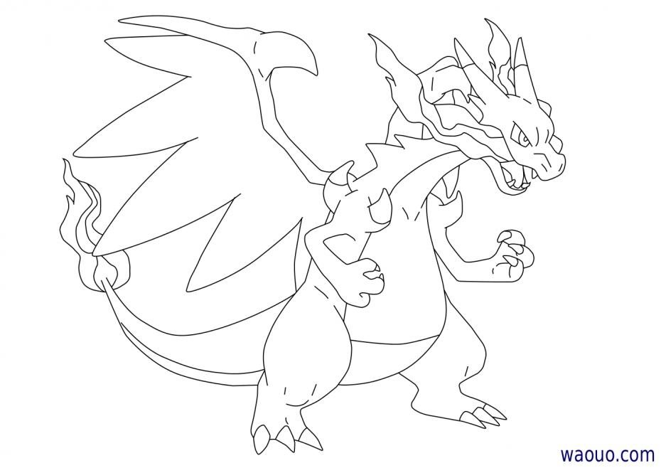 Coloriage Méga-Dracaufeu X Pokemon