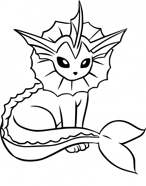Coloriage Aquali Pokemon