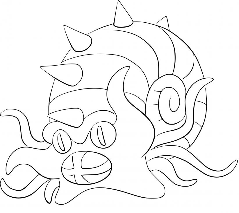 Coloriage Amonistar Pokemon
