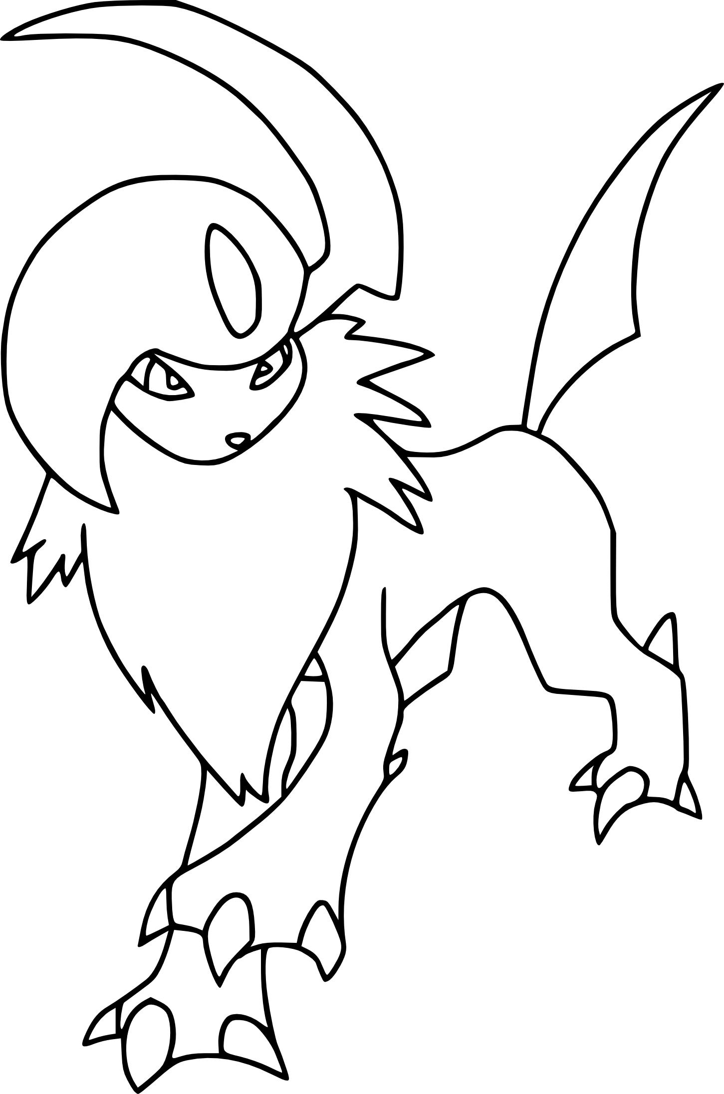 Eevee Evolutions Kleurplaat Coloriage Absol Pokemon 224 Imprimer