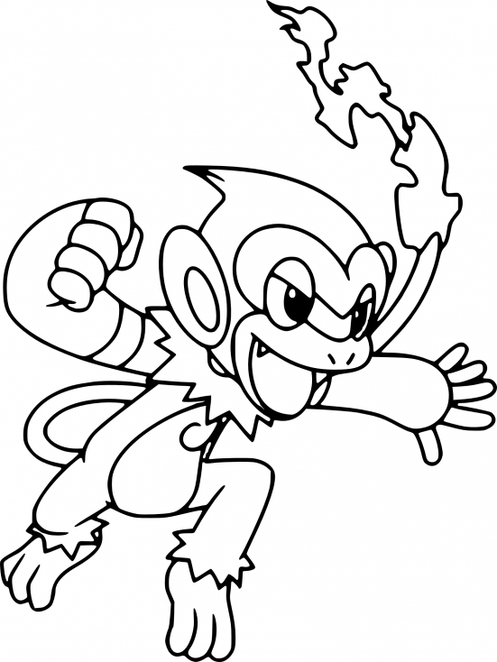 Coloriage Chimpenfeu Pokemon