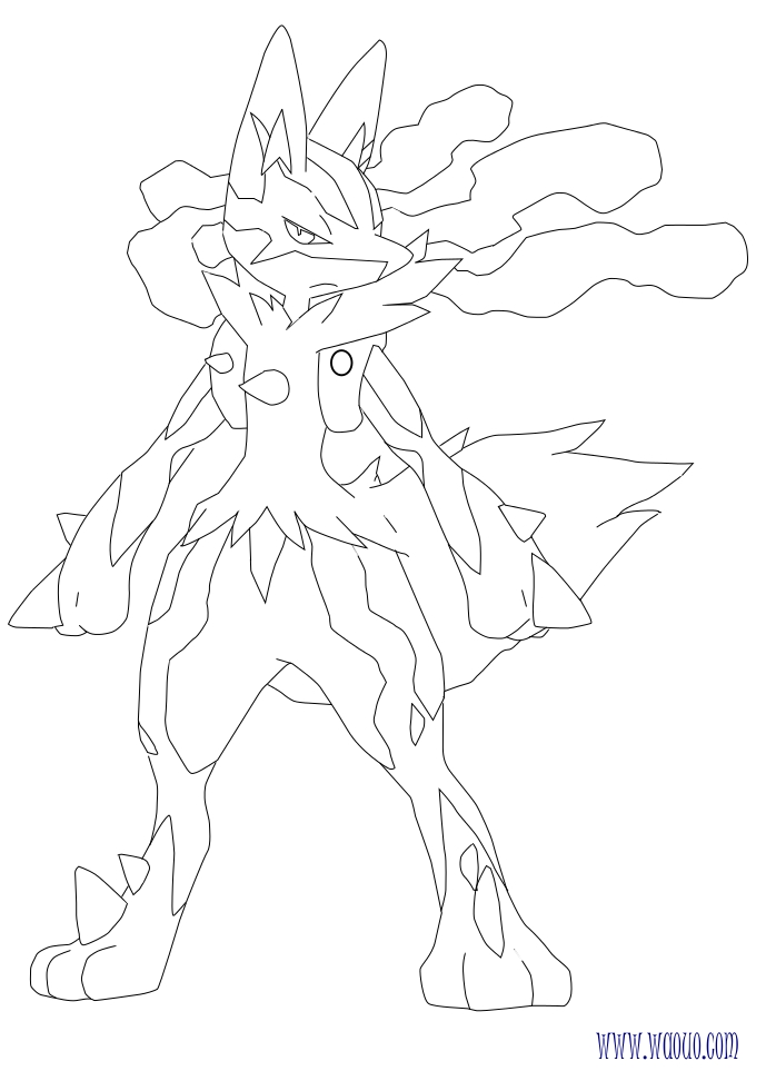 Coloriage Mega Lucario Pokemon A Imprimer