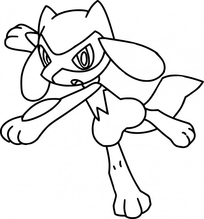 Coloriage Riolu Pokemon