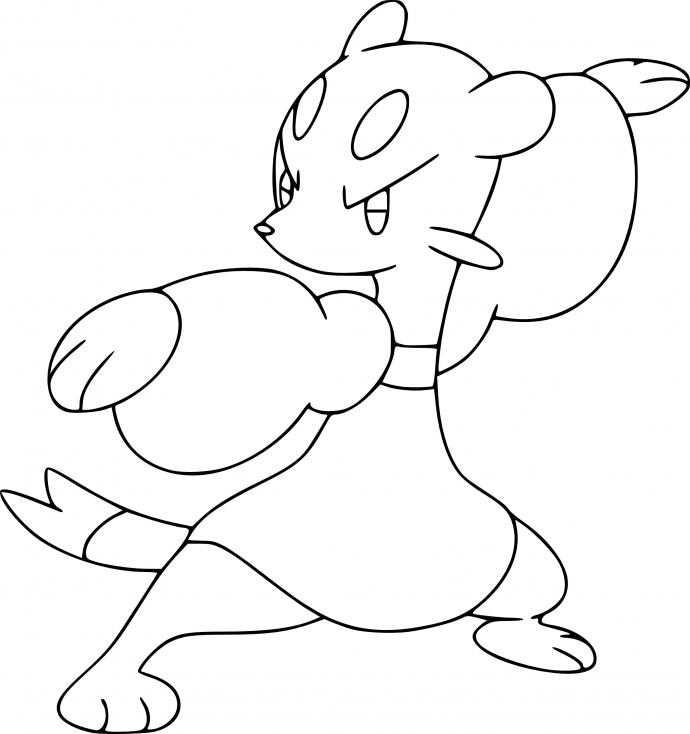 Coloriage Kungfouine Pokemon