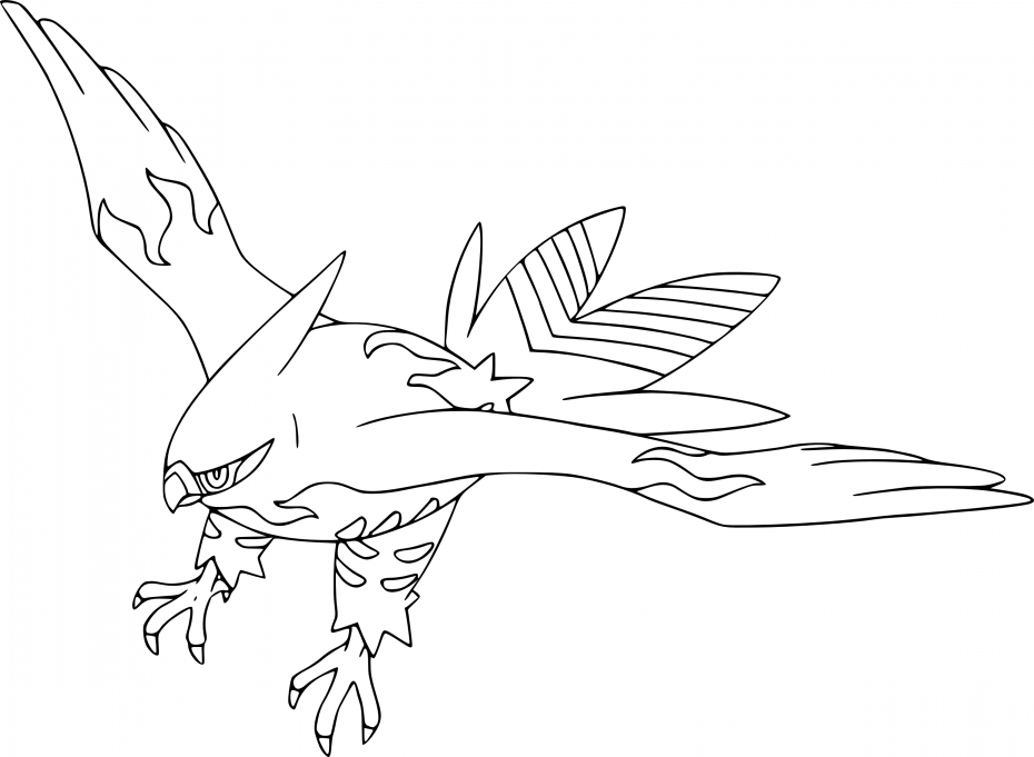 Coloriage Flambusard Pokemon