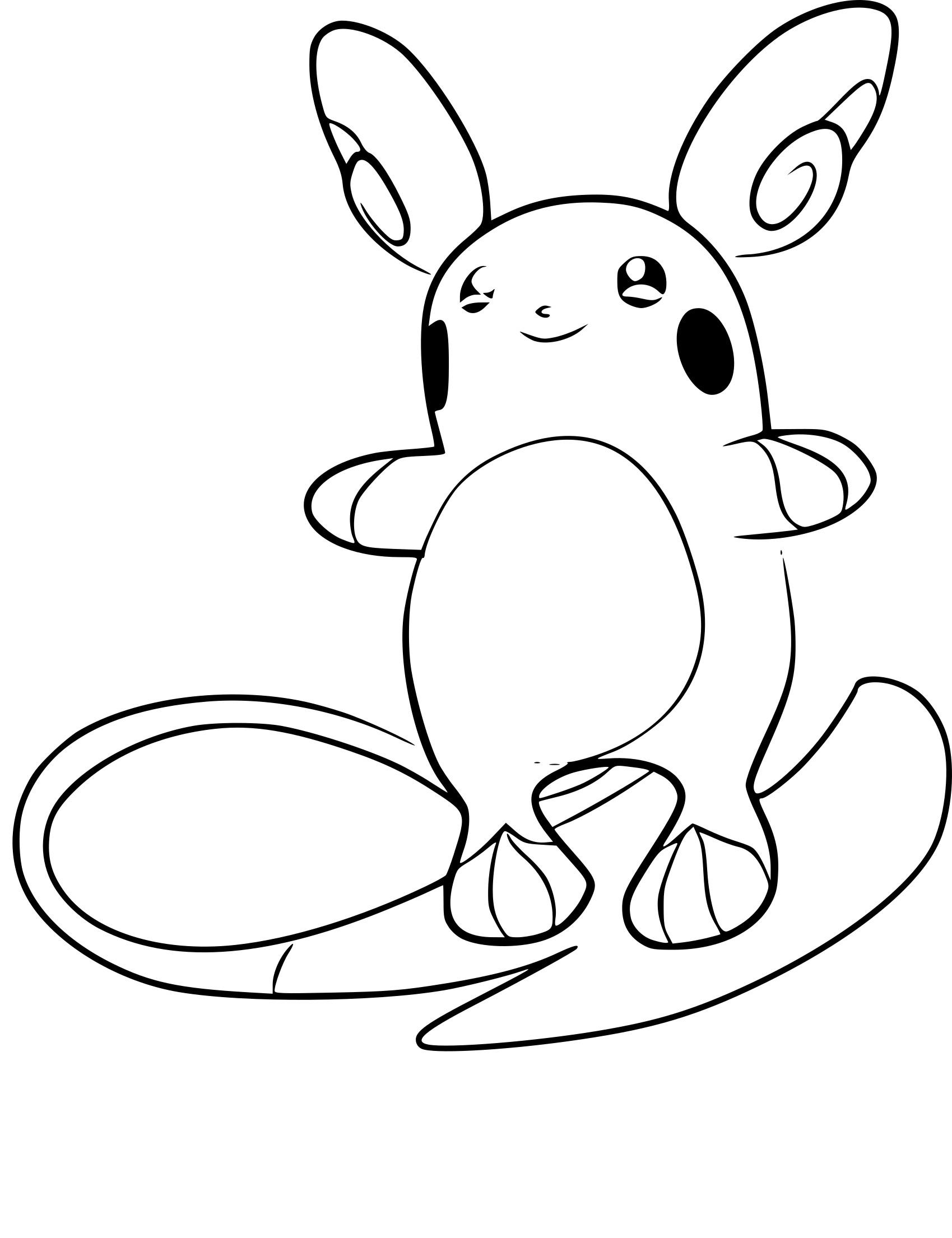 Coloriage Raichu d'Alola Pokemon à imprimer