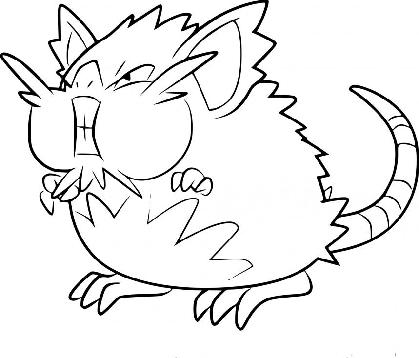 Coloriage Rattatac d'Alola Pokemon