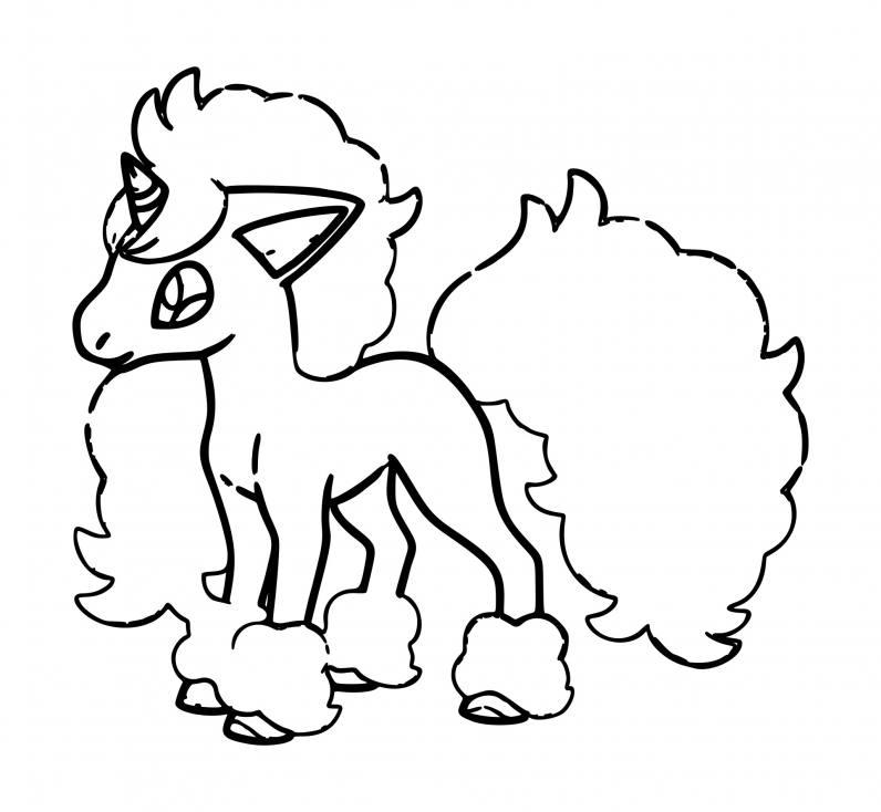 Coloriage Ponyta de Galar Pokemon